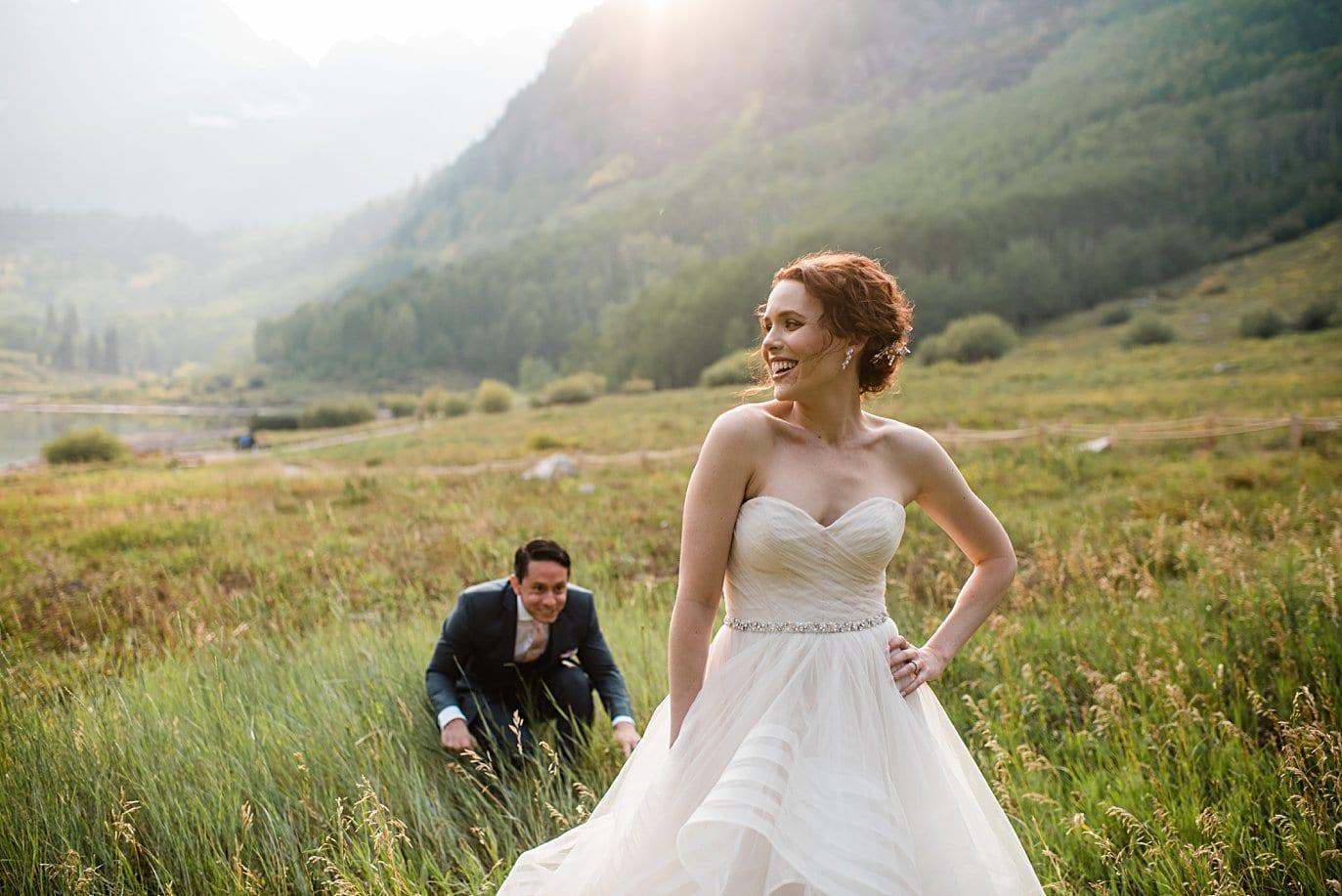 fun at fall Maroon Bells wedding by Aspen wedding photographer Jennie Crate