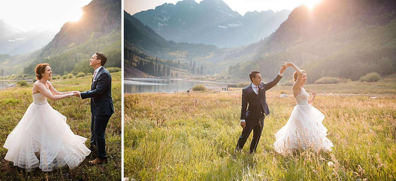 bride and groom twirl at sunset at fall Maroon Bells wedding by Aspen wedding photographer Jennie Crate