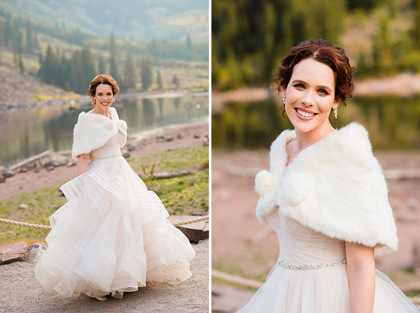 bride in layered striped wedding dress with antique faux fur shawl