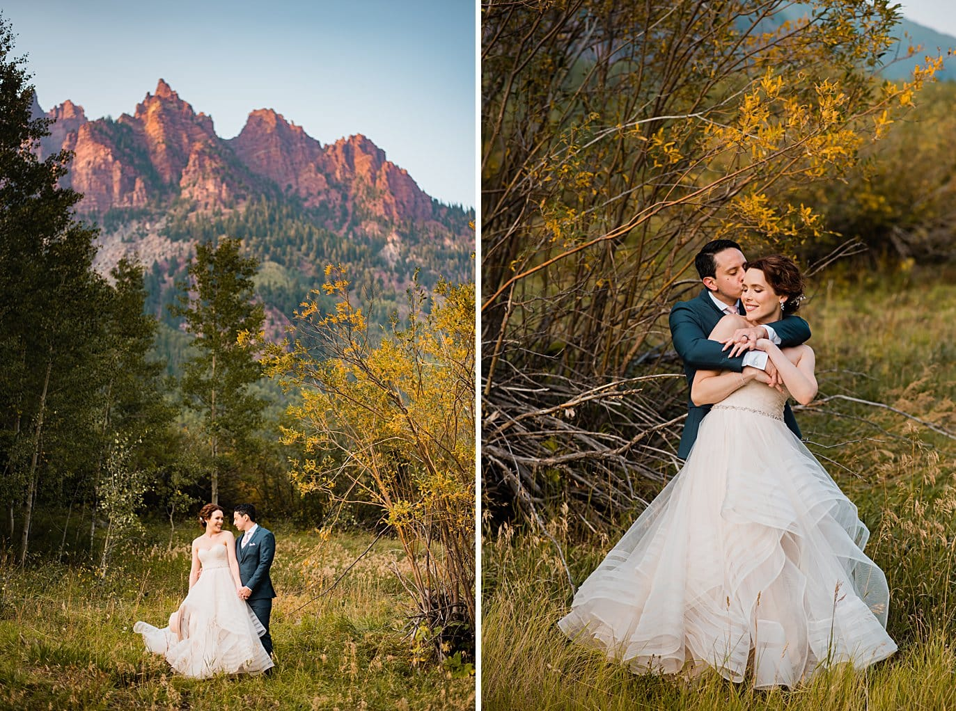 bride and groom in front of red peaks at fall Maroon Bells wedding by Snowmass wedding photographer Jennie Crate