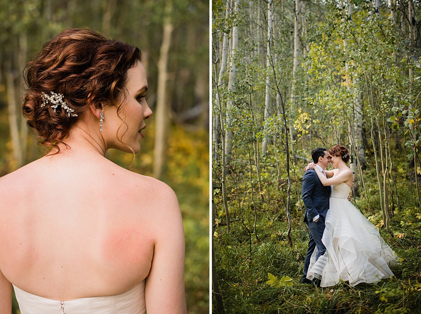 bride with red hair and wedding updo at fall Aspen wedding by Snowmass wedding photographer Jennie Crate