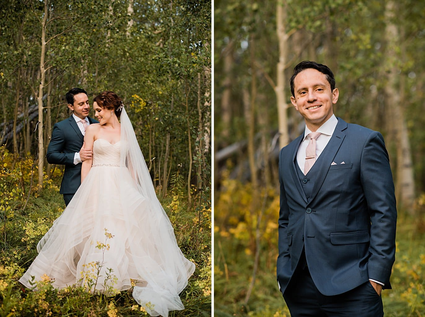 bride and groom in fall aspen trees at fall Aspen wedding by Snowmass wedding photographer Jennie Crate