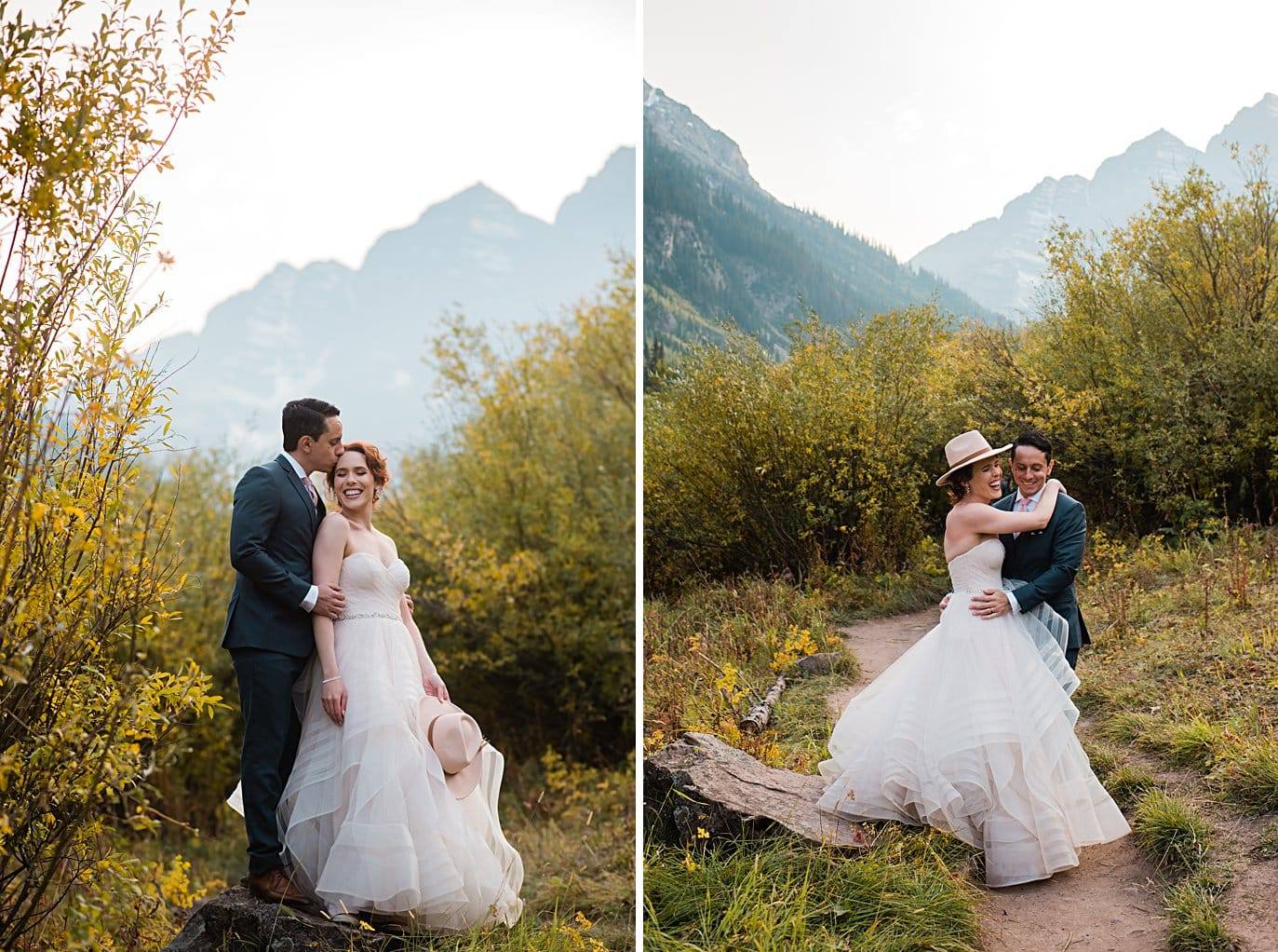 bride and groom cuddle in front of Maroon Bells peaks at fall Maroon Bells wedding by Snowmass wedding photographer Jennie Crate