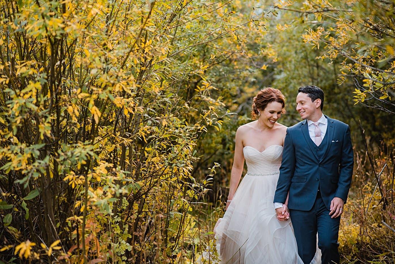 fall wedding portrait in Aspen by Denver wedding photographer Jennie Crate
