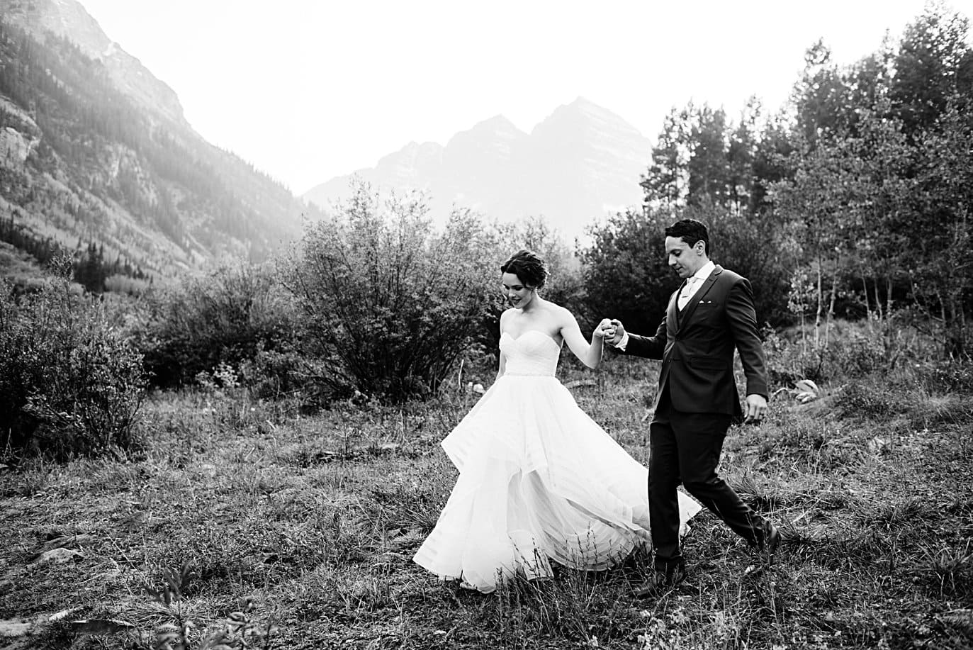 black and white portrait of bride and groom in Aspen by Denver wedding photographer Jennie Crate