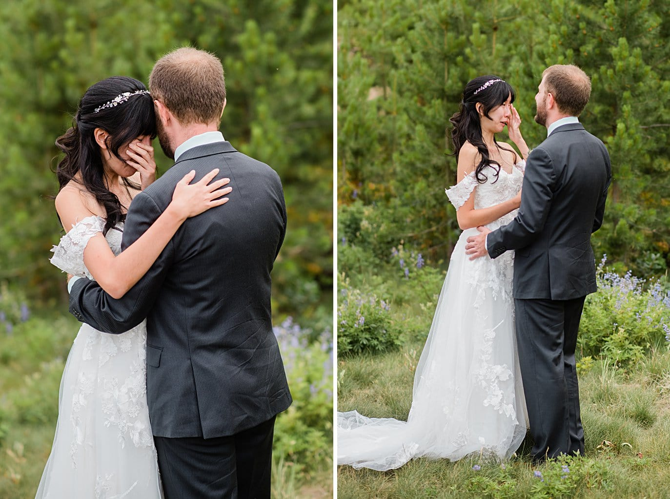 emotional first look at intimate Grand Lake wedding by Grand Lake wedding photographer Jennie Crate