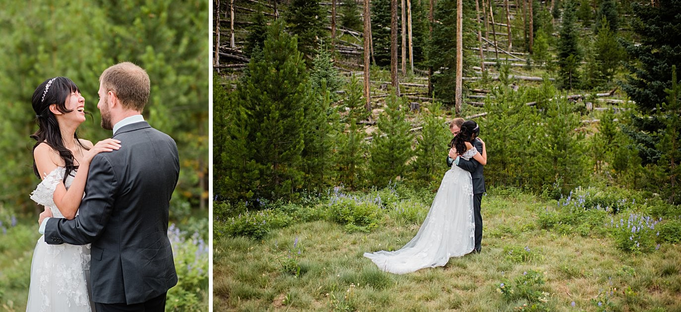 bride and groom share emotional first look in trees at intimate Grand Lake wedding by Grand Lake wedding photographer Jennie Crate