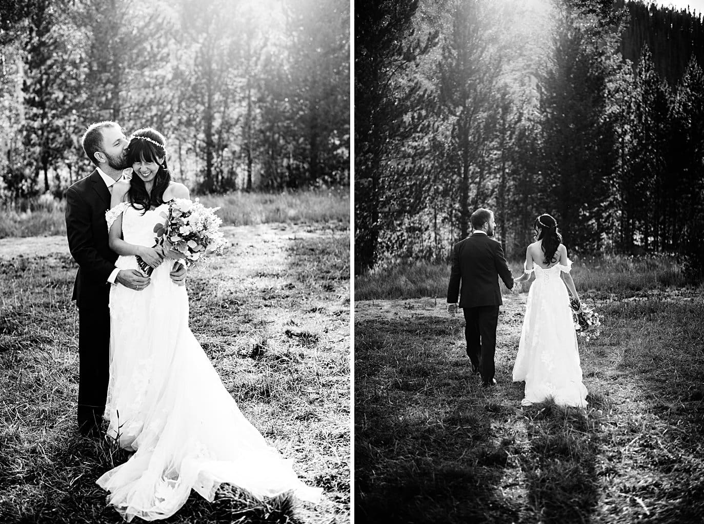 romantic black and white portraits of bride and groom at intimate Grand Lake wedding by Estes Park wedding photographer Jennie Crate