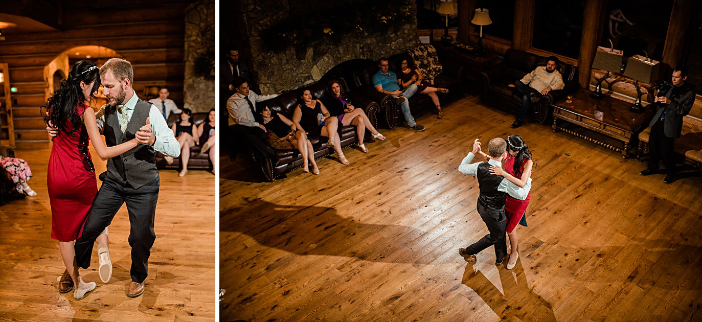 bride and groom first dance tango at intimate Grand Lake wedding by Boulder wedding photographer Jennie Crate