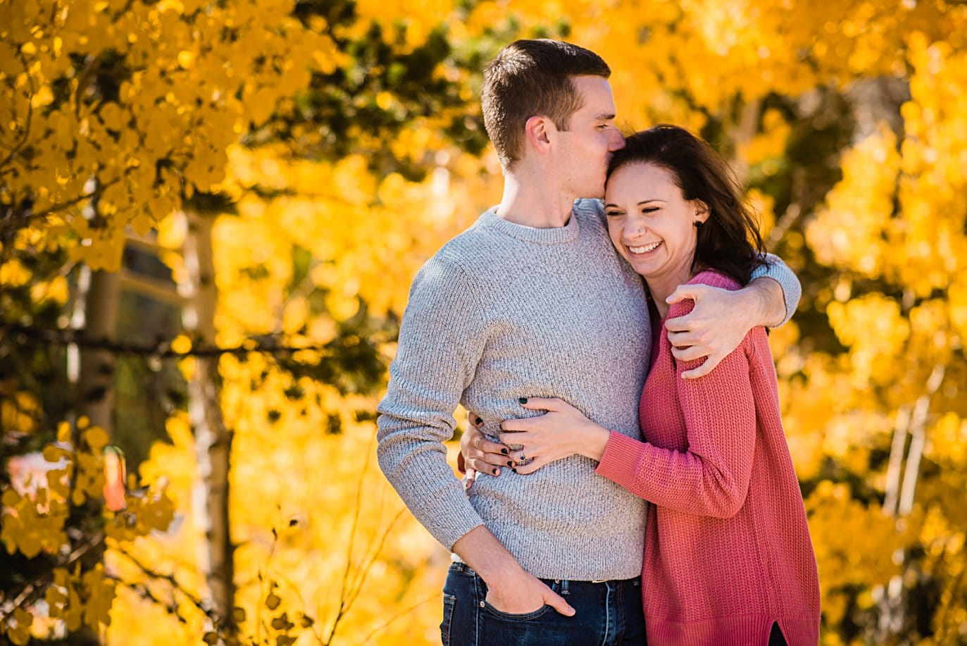 fall engagement session with yellow aspens by Boulder engagement photographer Jennie Crate