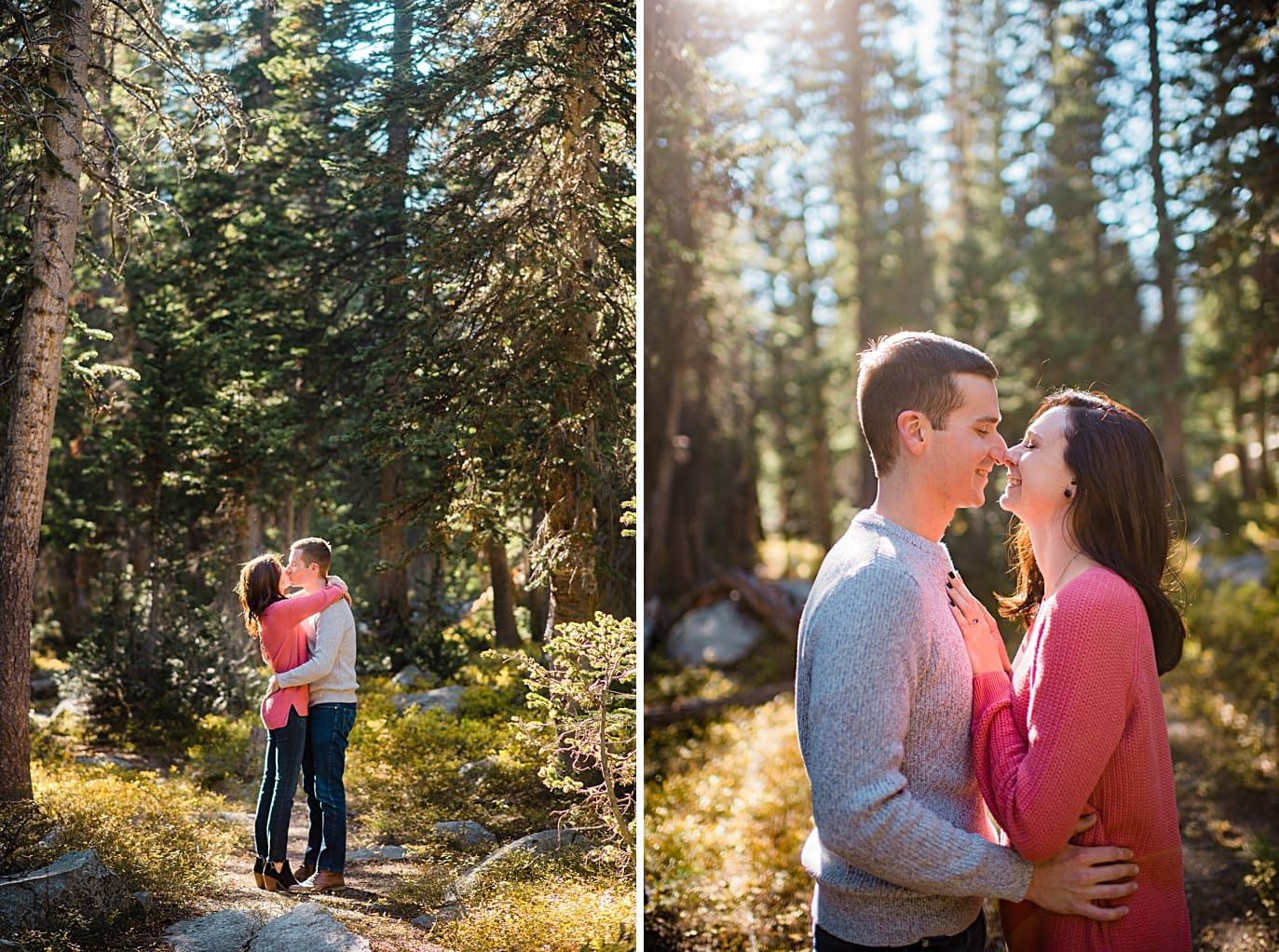 bride and groom cuddle in sunshine in forest Mitchell Lake engagement session by Boulder engagement photographer Jennie Crate