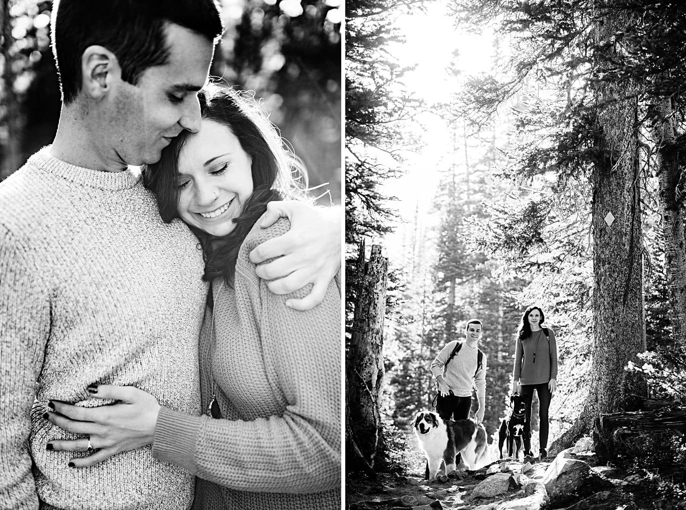 intimate moments with dogs Mitchell Lake engagement session by Boulder engagement photographer Jennie Crate