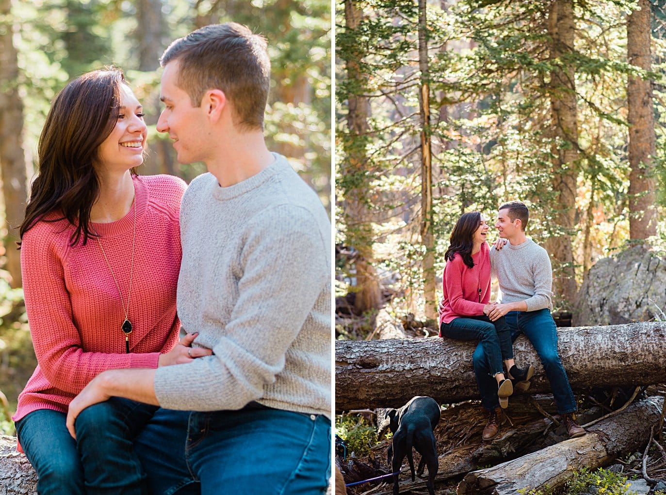 couple cuddles on fallen log in woods at Mitchell Lake engagement session by Boulder engagement photographer Jennie Crate