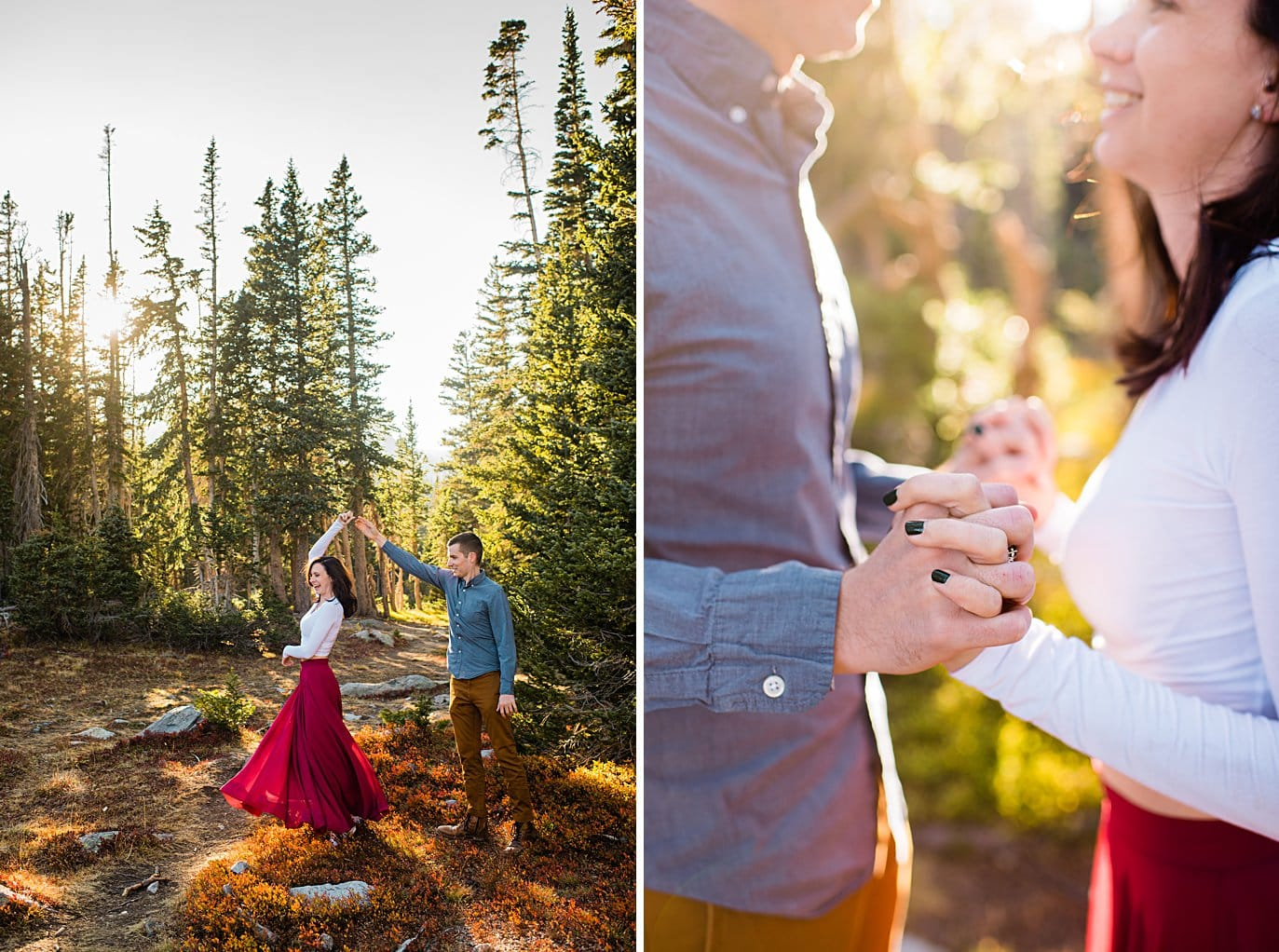 sunset engagement hike to Mitchell Lake by Denver engagement photographer Jennie Crate