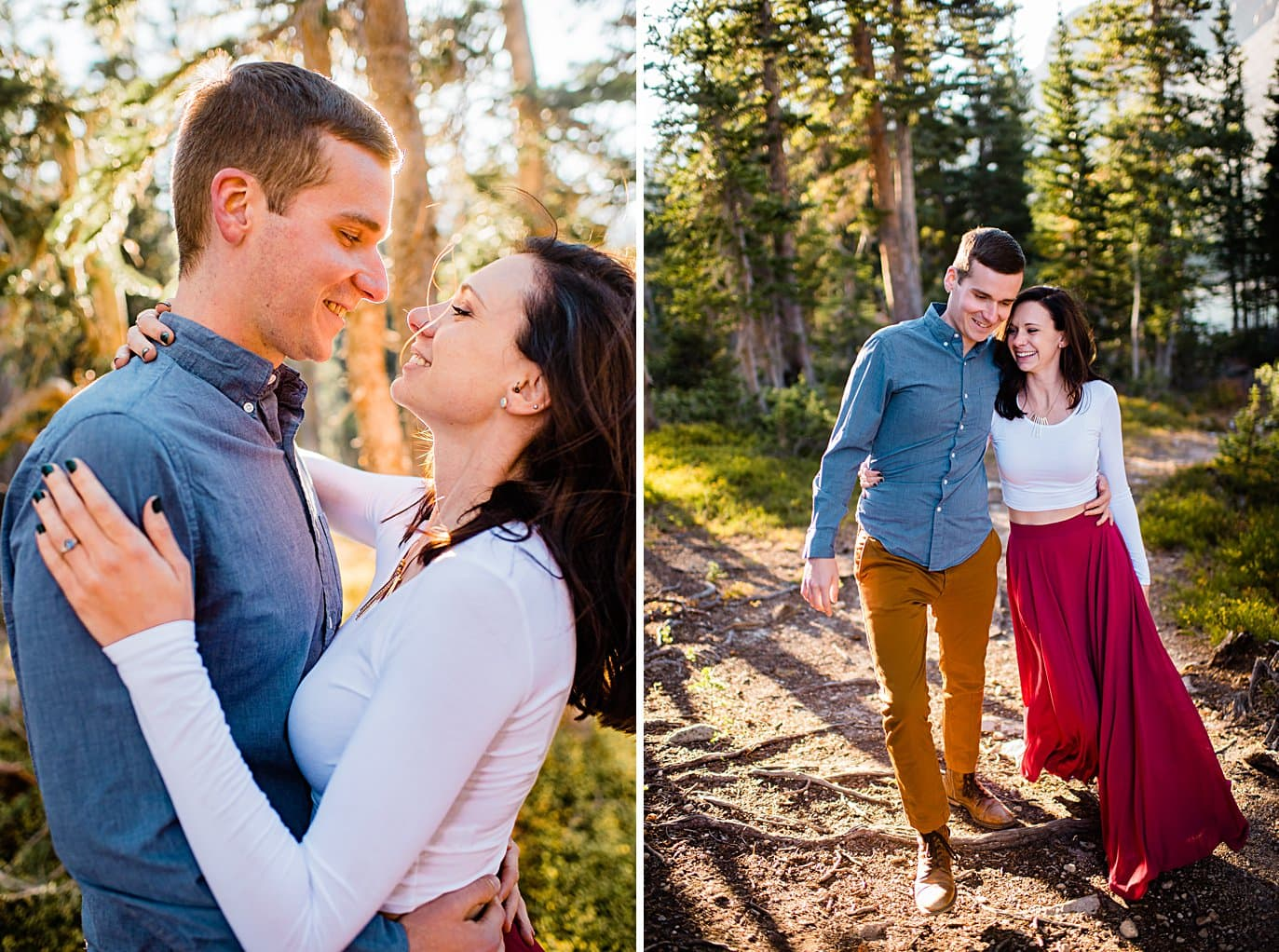 colorful engagement hike to Mitchell Lake by Denver engagement photographer Jennie Crate