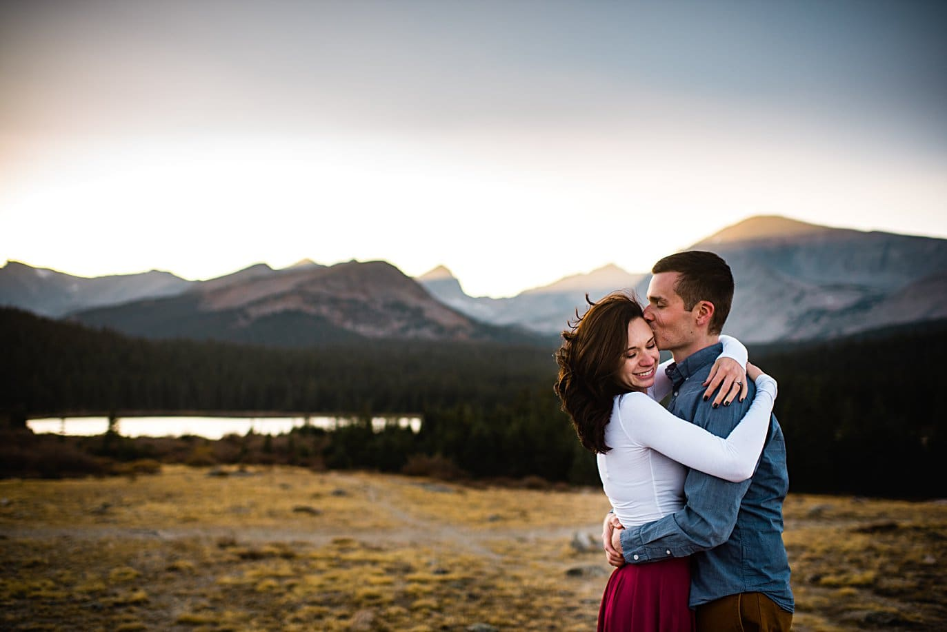 windy engagement session at brainard lake by Boulder wedding photographer Jennie Crate