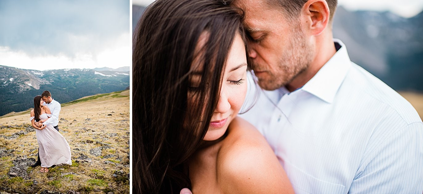 intimate moment between bride and groom summer trail ridge road engagement session by RMNP engagement photographer Jennie Crate