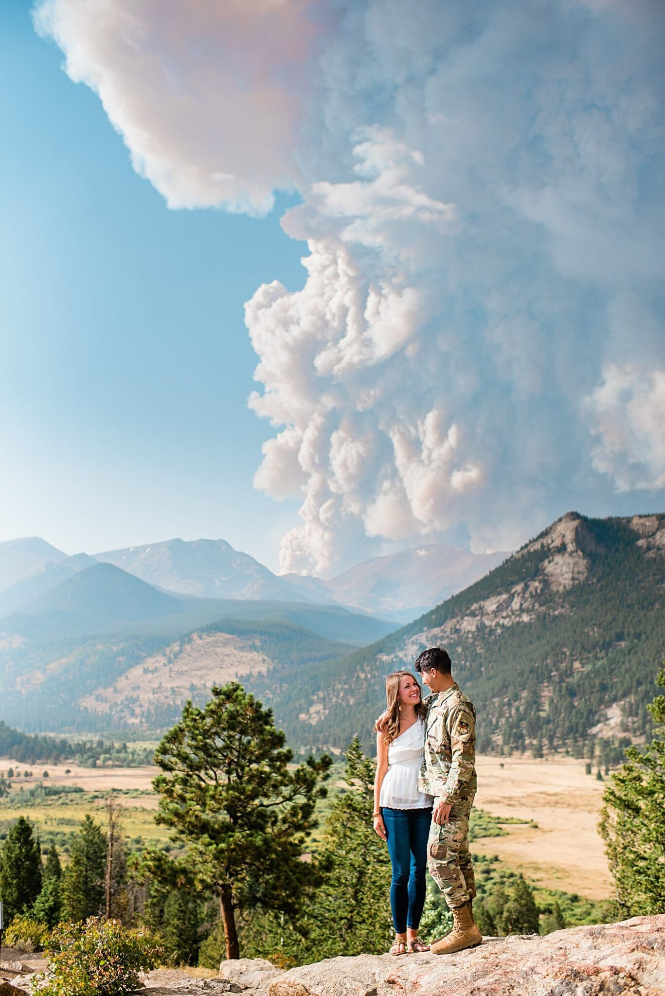 Rocky Mountain National Park engagement with smoke plume from Cameron Peak fire 2020