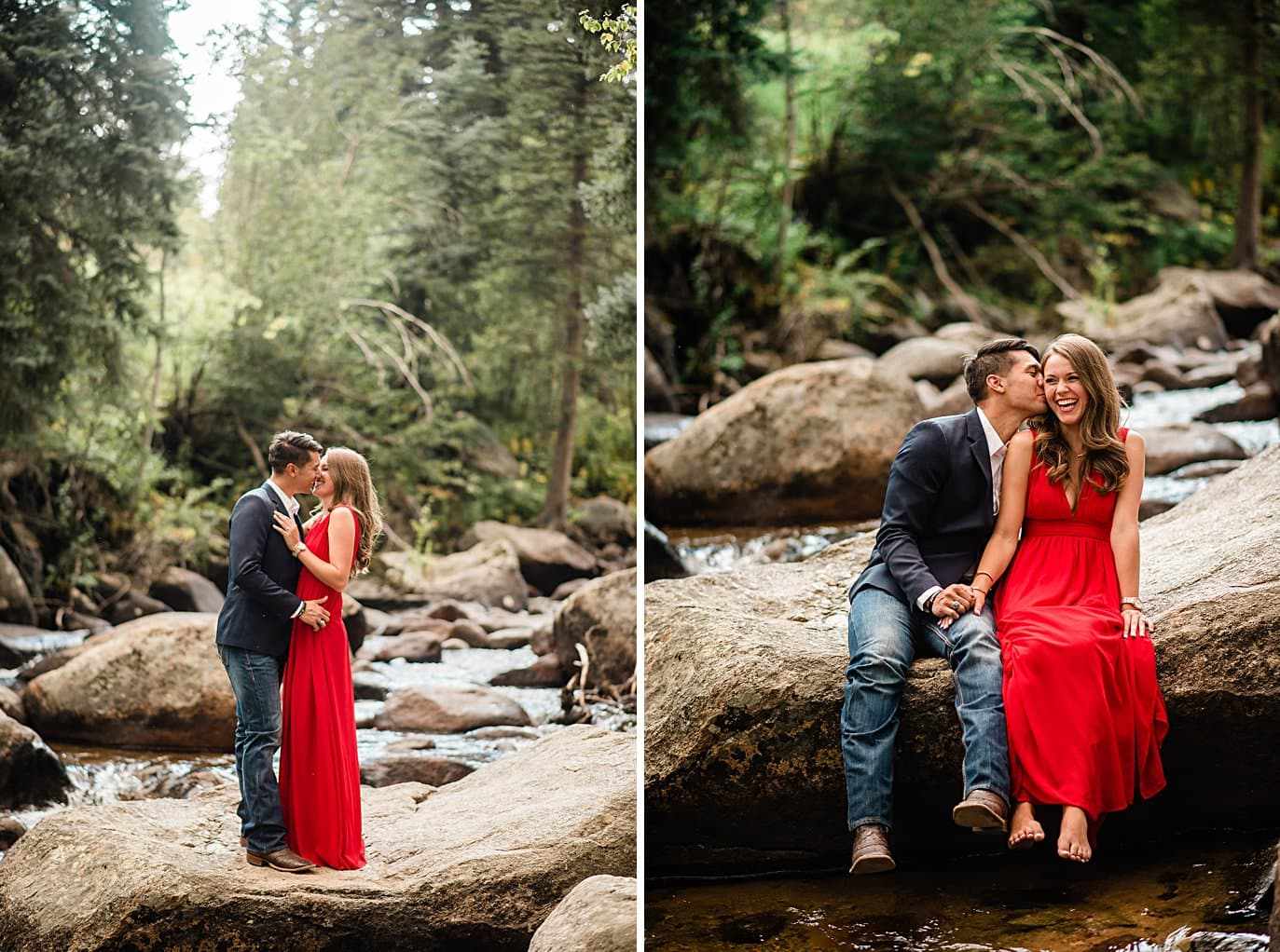 bride and groom barefoot by creek at Rocky Mountain National Park engagement by Estes Park engagement photographer Jennie Crate