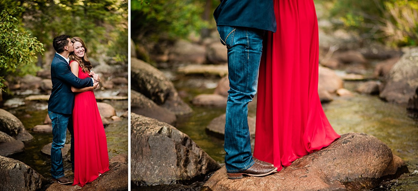 engaged couple in navy suit and red formal dress at Rocky Mountain National Park engagement by Estes Park engagement photographer Jennie Crate