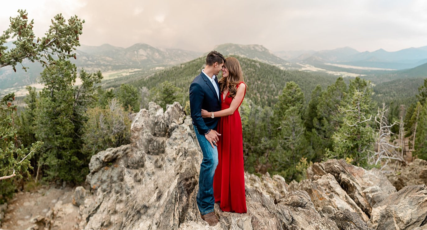 panoramic view of smokey park at Rocky Mountain National Park engagement by Lyons engagement photographer Jennie Crate