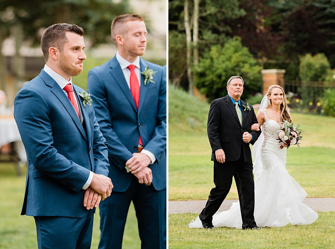 groom and bride see each other for the first time on wedding day as bride walks down aisle at Larkspur Vail Wedding by Lyons Wedding photographer Jennie Crate