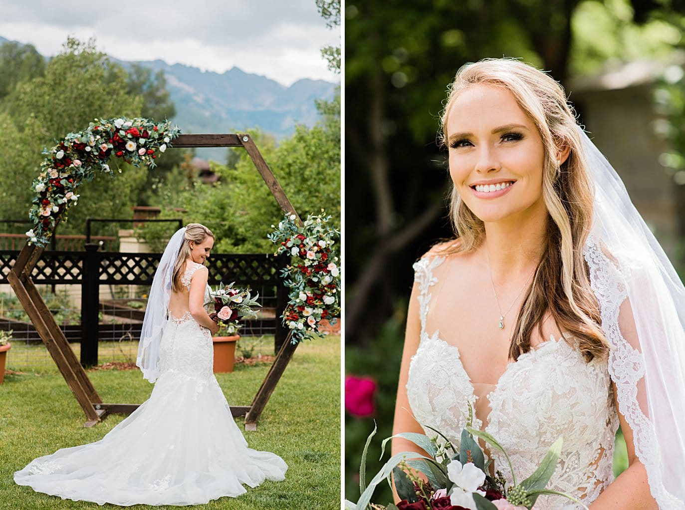 bride in front of ceremony arch with bold flowers at Larkspur Vail Wedding by Breckenridge Wedding photographer Jennie Crate