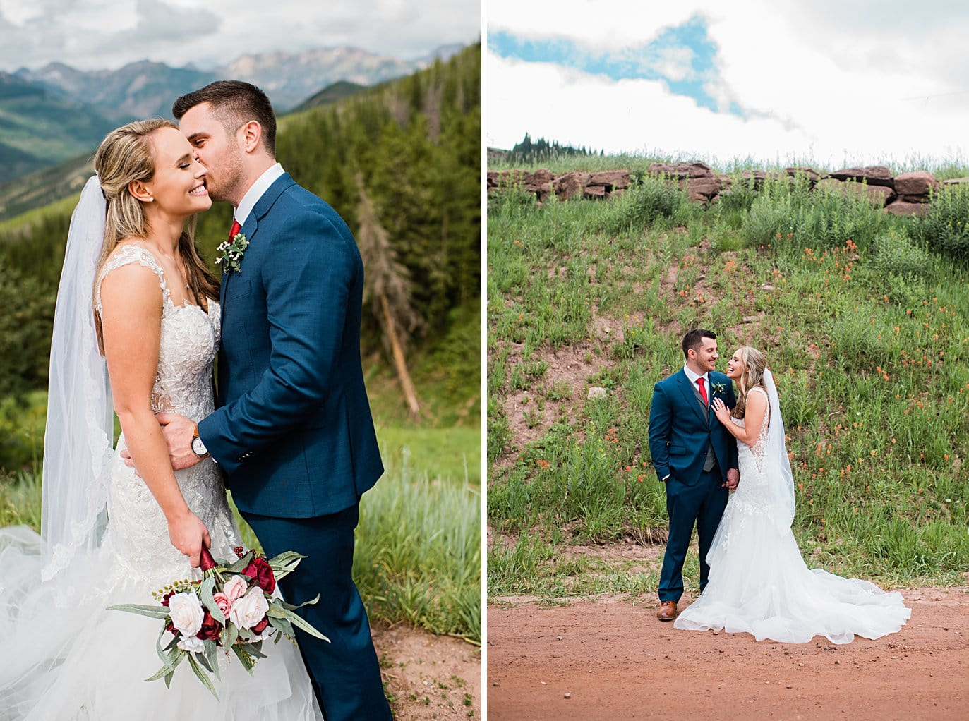 bride and groom share kisses at top of Vail mountain at Vail Manor Lodge wedding by Breckenridge wedding photographer Jennie Crate