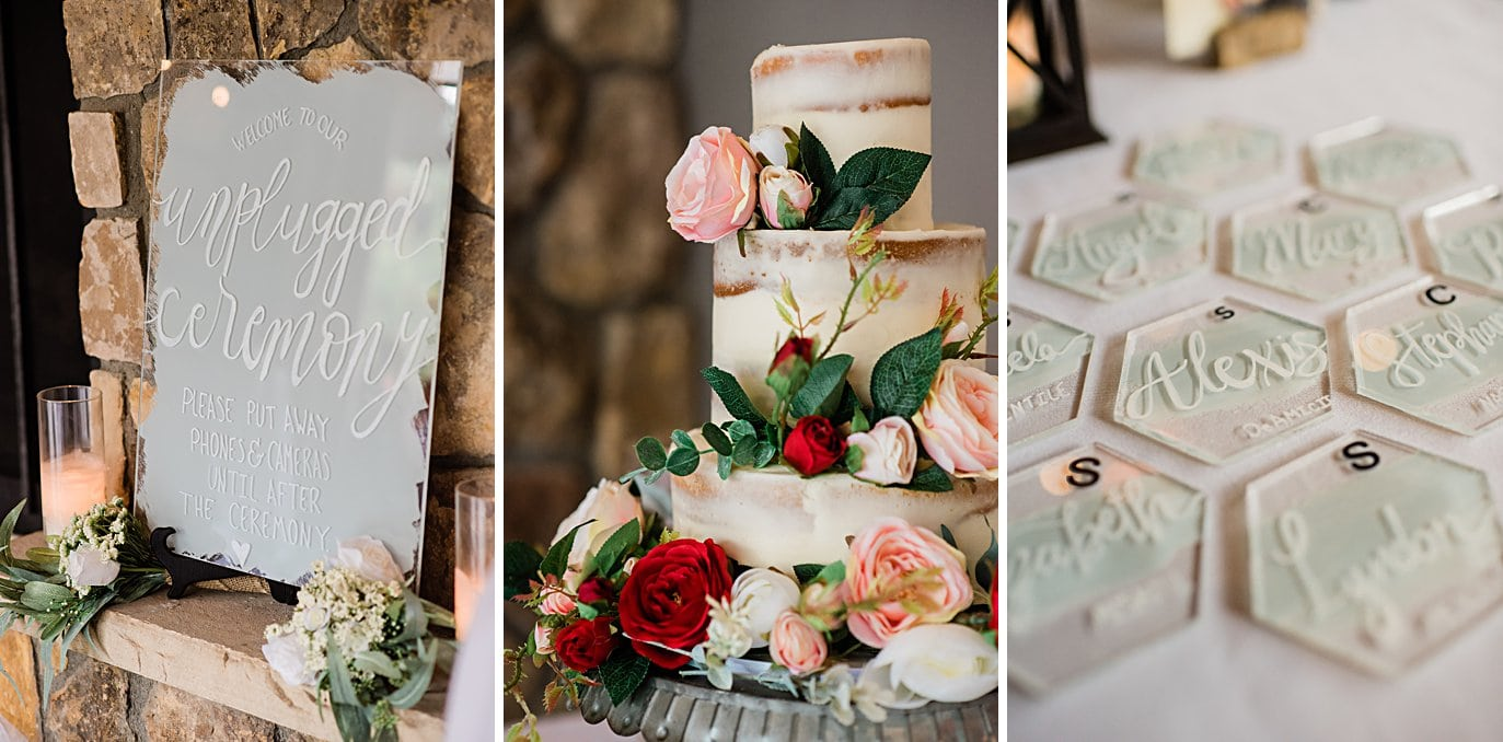 naked wedding cake and hand calligraphy glass coasters at Vail Manor Lodge wedding by Aspen wedding photographer Jennie Crate
