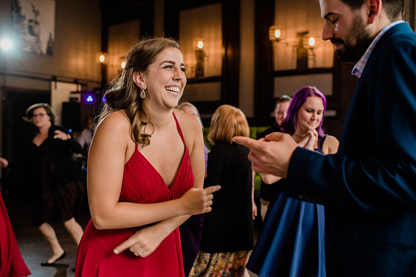 Colorado mountain dance party at Vail Manor Lodge wedding by Aspen wedding photographer Jennie Crate