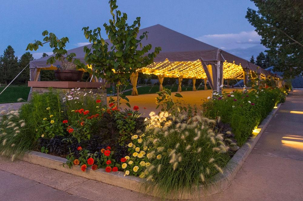 UMB Bank tent for weddings at the Denver Botanic Gardens.