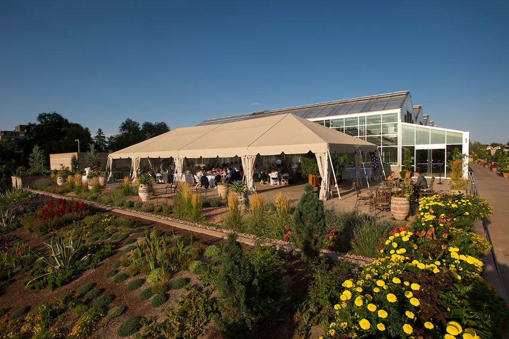 West Terrace Tent reception space at the Denver Botanic Gardens