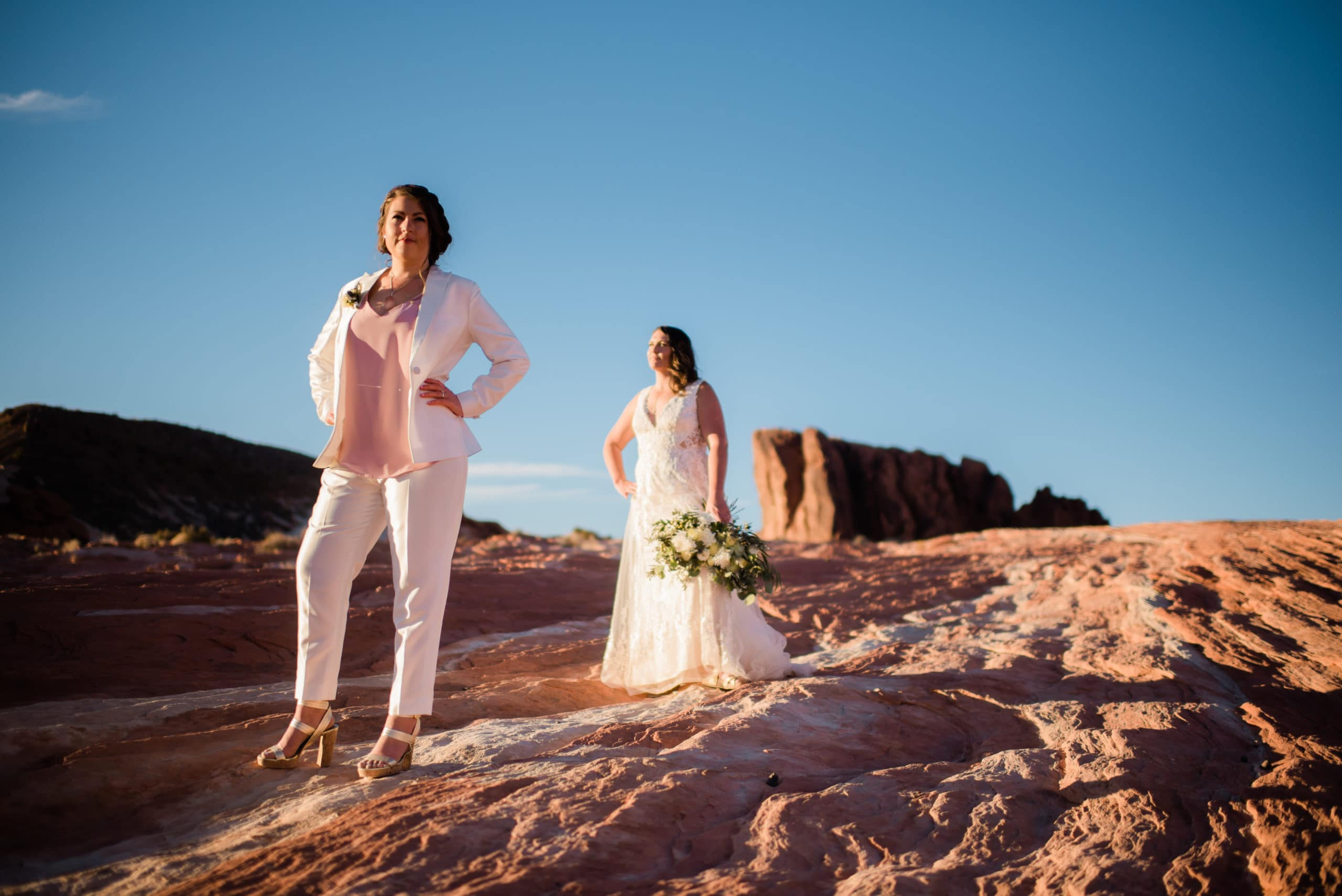 a bride wears a tailored lgbtq+ wedding suit