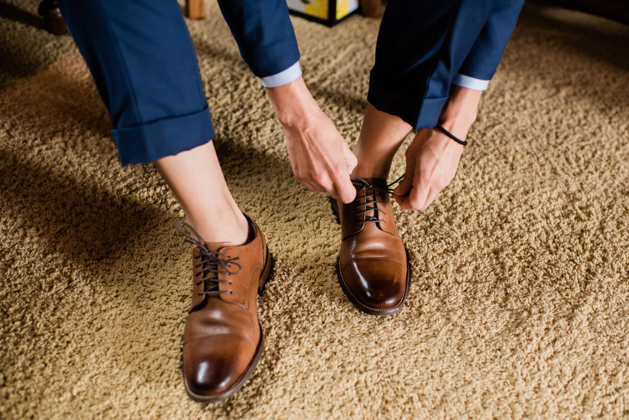 LGBTQ+ wedding suite with shoes lace up wingtips